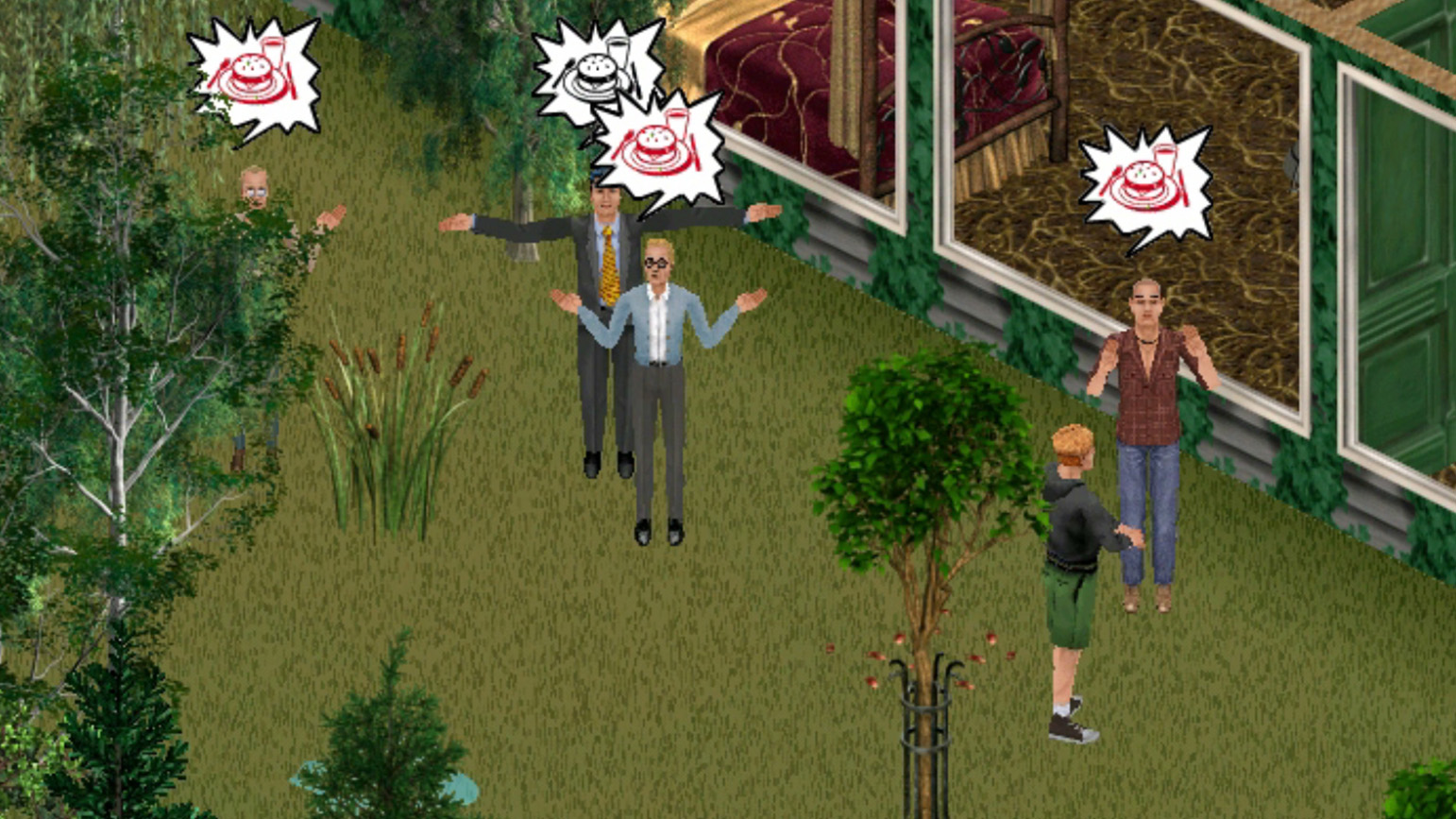 Still from artistic intervention in The Sims, showing several characters with speech balloons with burgers