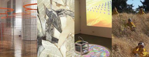 Four images of artworks - 1. abstract wire sculptures; 2. birds cut out of book pages, 3. small square sculpture sitting on the floor with a projection behind, 4. still from a film with monks sitting in a field