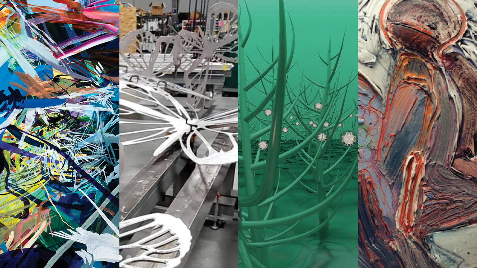 Four images: 1. Abstract painting; 2. Metal sculptures of butterflies; 3. Abstract digital image of nature; 4. Abstract ceramic work