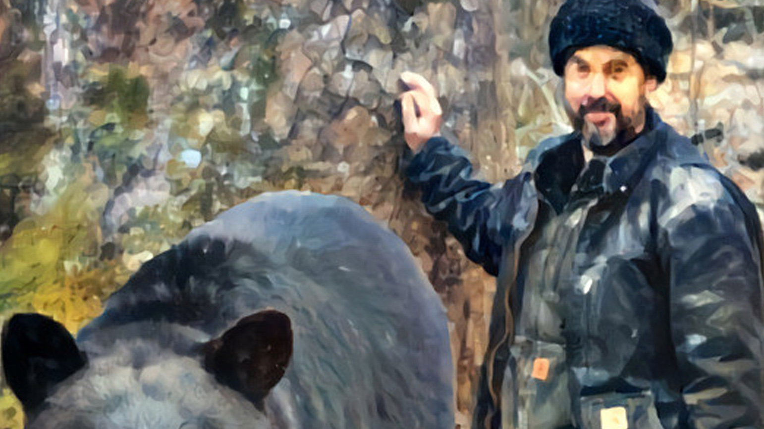 Painting of a man with a black bear