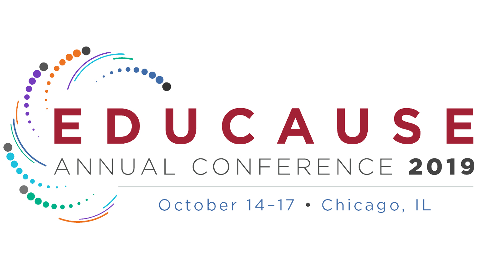 "Graphic with the works ""EDUCAUSE ANNUAL CONFERENCE 2019 / October 14-17, Chicago, IL"""