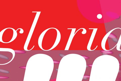 "The word ""gloria"" written in script lettering"