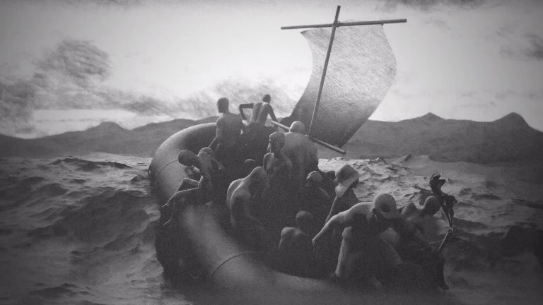 Black and white still from an animated film showing many people on a raft in turbulent waters
