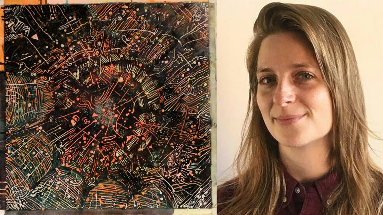 Image of an abstract artwork next to a headshot of a woman