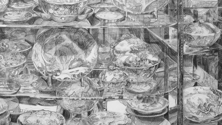Drawing of many dishes on a glass display