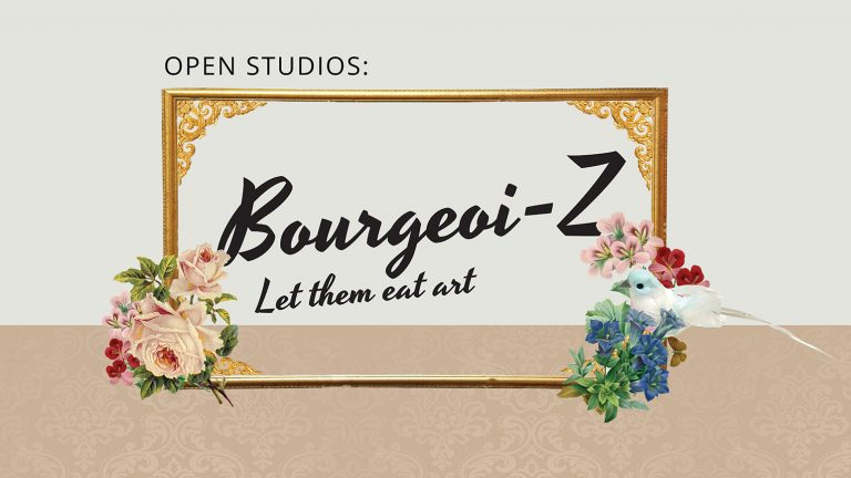 "Gold frame with flowers and a bird with the text ""Bourgeoi-Z Let them eat art"" in the middle of the frame"