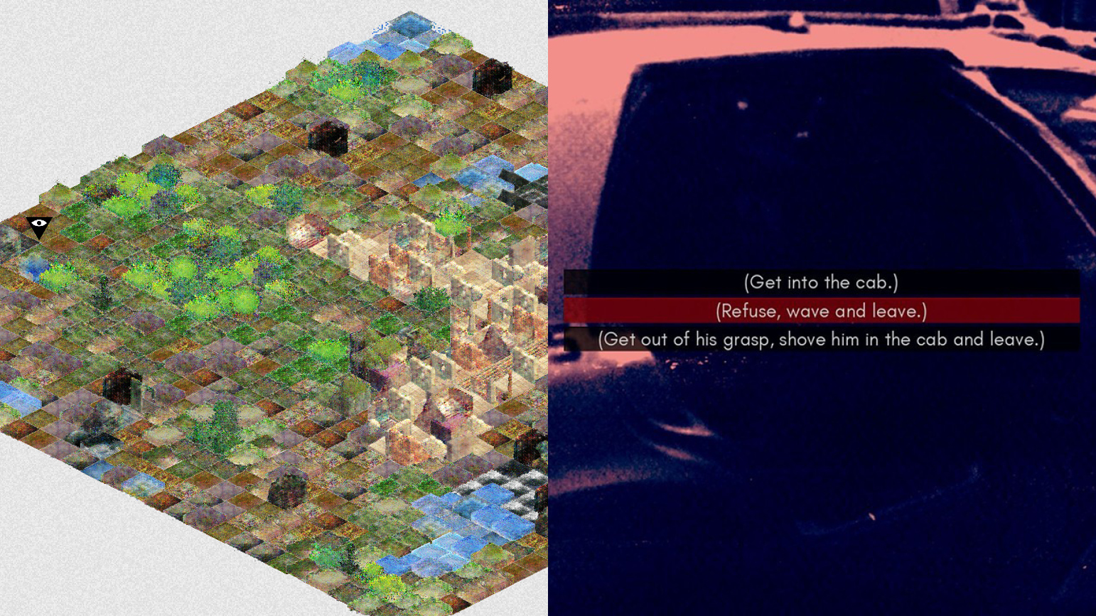 Two stills from video games, one showing digital terrain floating against a white background and the other a stylized image of a taxi