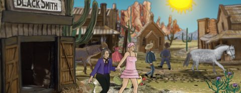 Video still of a cartoon set in old western time with two women holding hands in the foreground