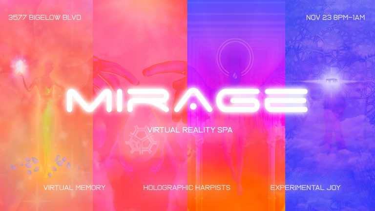"Graphic with abstract geometric shapes and angles with the word ""Mirage"" in the center"