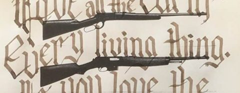 """Page from a book of guns with the word """"Love all the Earth/ Every living thing. If you love the"""" written over it."""