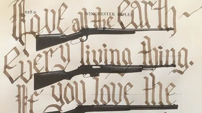 "Page from a book of guns with the word ""Love all the Earth/ Every living thing. If you love the"" written over it."