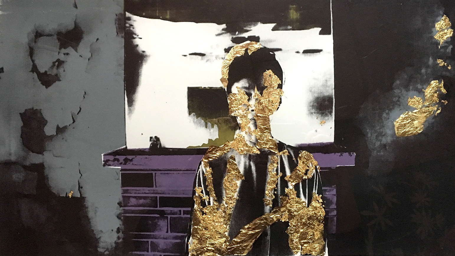 Screenprint of a woman standing in front of a fireplace with gold leaf