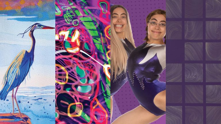 Four artworks: painting of a crane; abstract digital work; photograph of two gymnasts (the same person in two different costumes); abstract gridded work