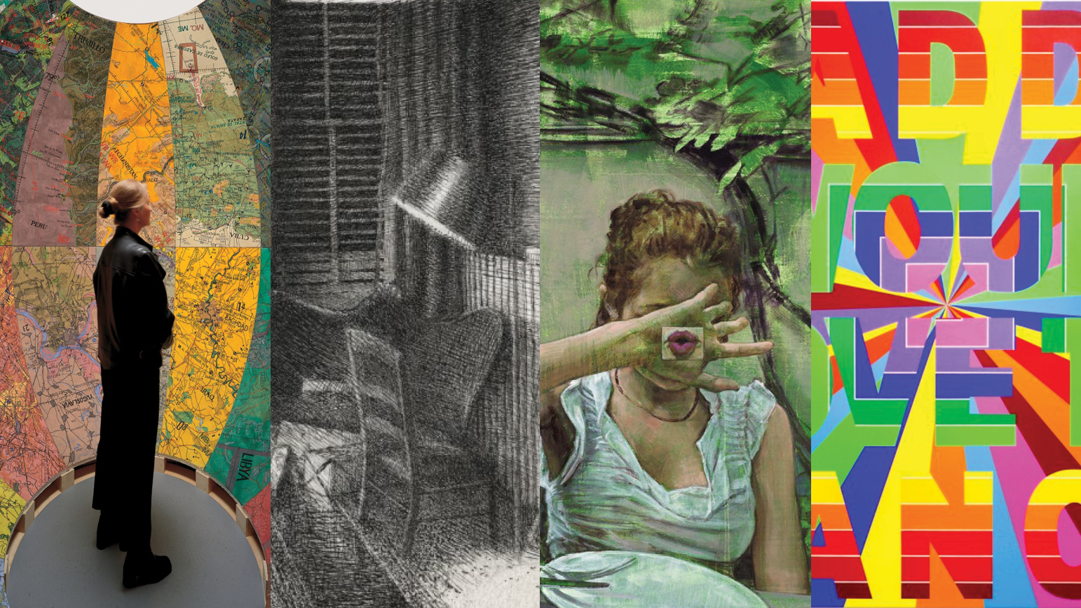 Four images: woman standing is a sphere surrounded by maps; pencil drawing of a living room; painting of a woman with her hand in front of her face; hard-edged geometric painting