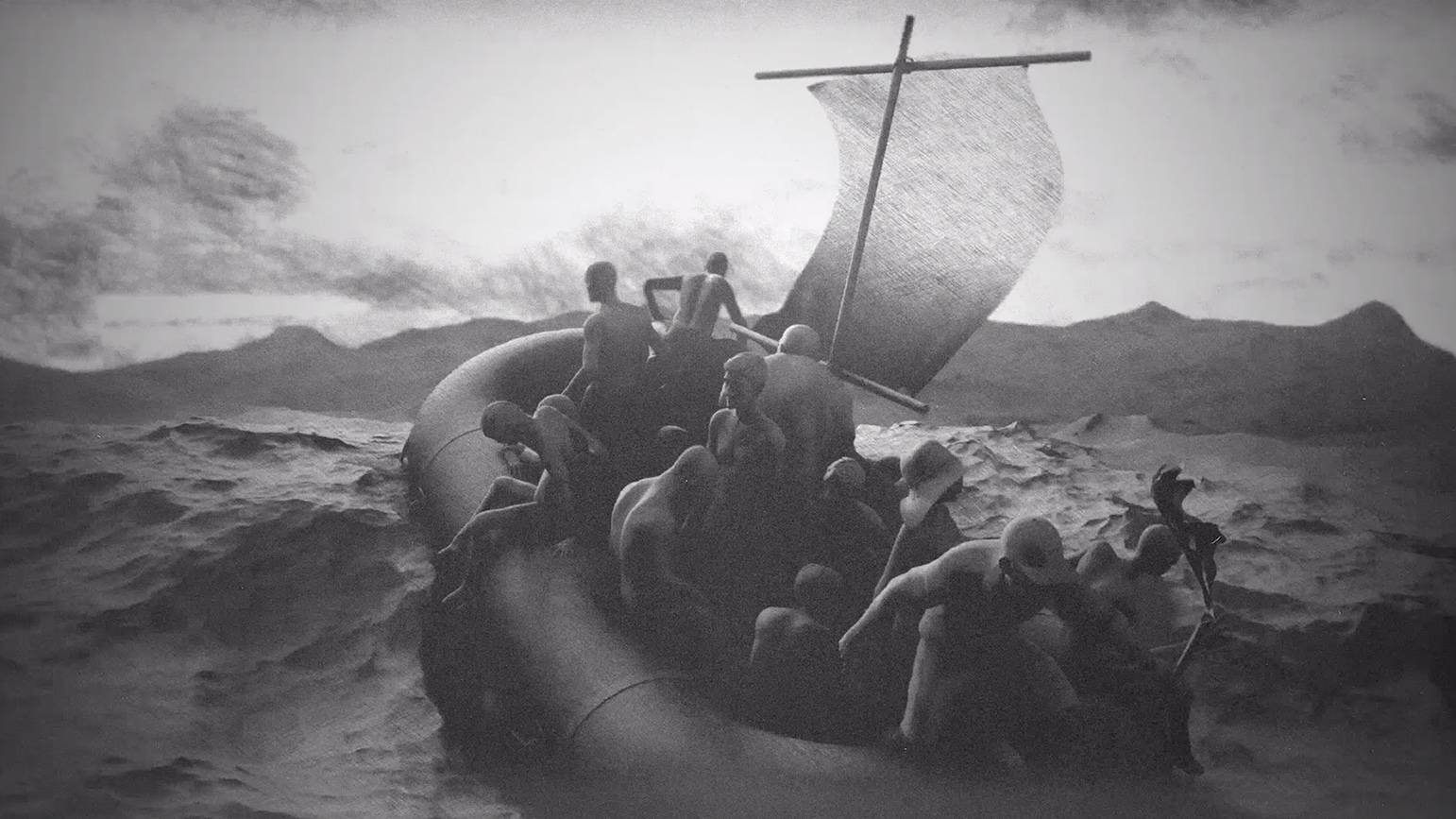 Black-and-white animation of people on a raft in a turbulent sea