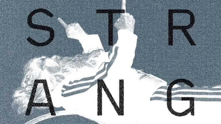 "Pixelated high contrast image of a man pointing with both hands and the word ""Strange"" written in large capital letters"