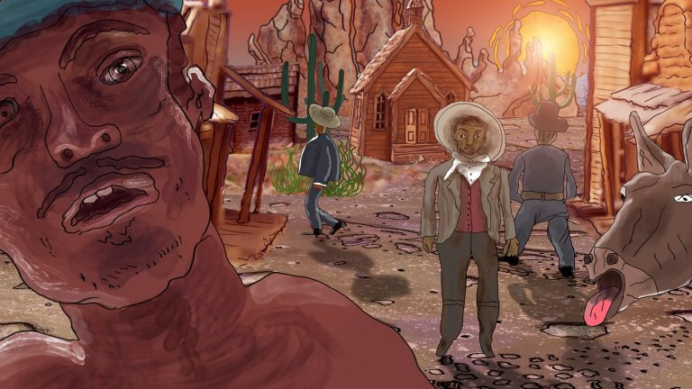 "Still from animated film ""Stinkhorn"" showing several people in a western town with a hot sun"