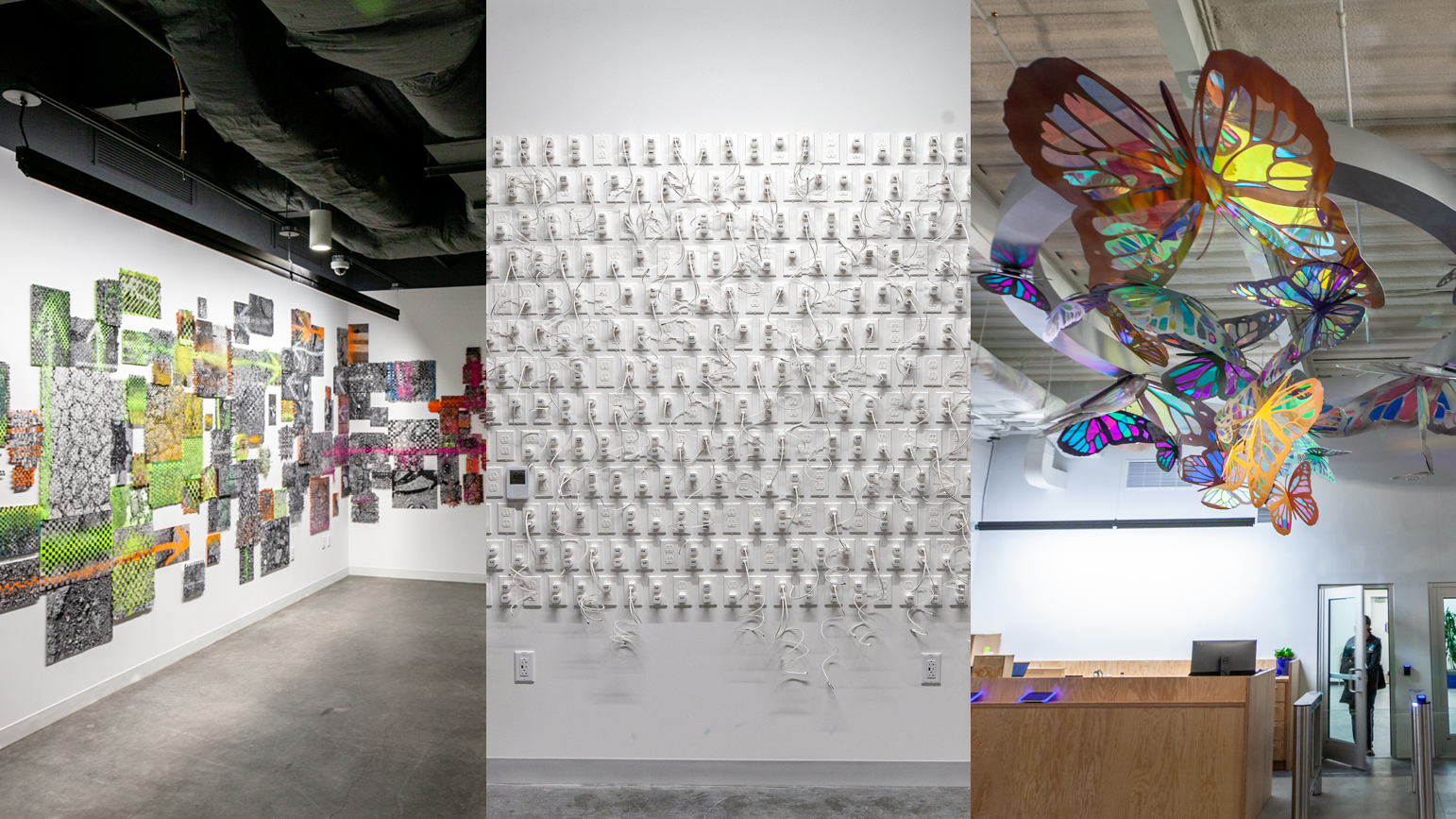 Three installations at Facebook in Pittsburgh: abstracted photographs of pavement, iPhone chargers made of paper, and iridescent butterflies