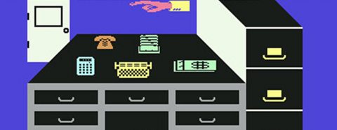 Highly pixelated graphic image of a desk from Commodore, 1983