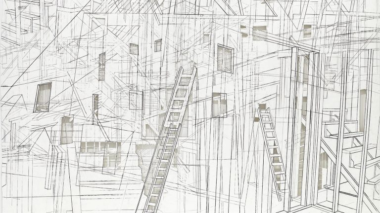 Drawing of a construction site from multiple simultaneous angles
