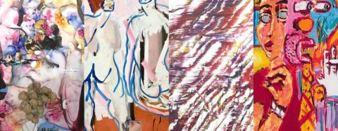Four images of abstract paintings