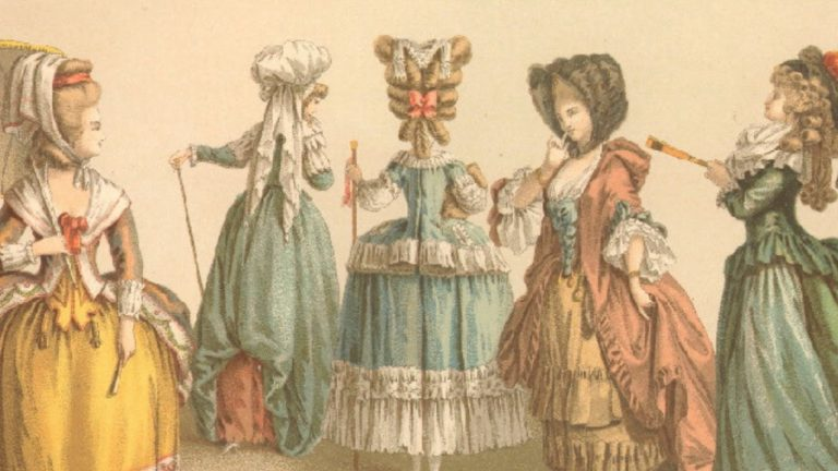 Victorian illustration of elaborately dressed women