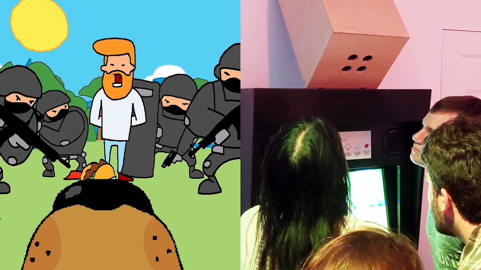 "Still from game ""Guilty Smells"" and a photograph of people playing the video game"