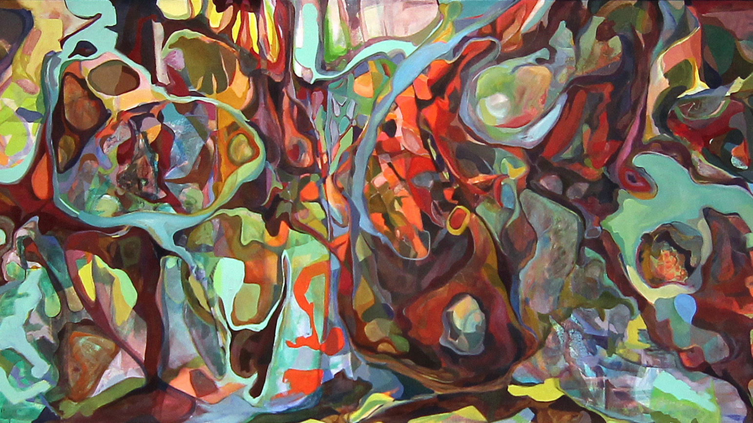 Abstract painting with organic forms in many colors