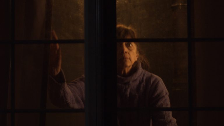 "Still from ""Blue Diane"" of a woman looking out a dark window"