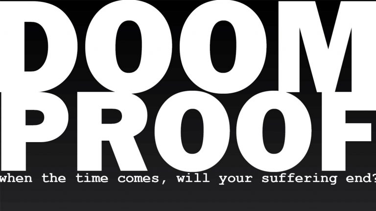 "Graphic with ""Doom Proof"" in bold block letters"