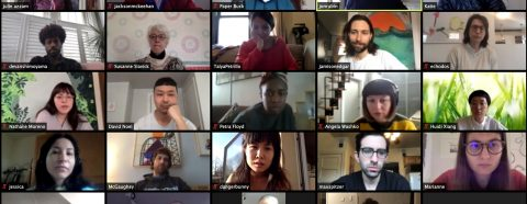 Grid of 25 people on a video conference call