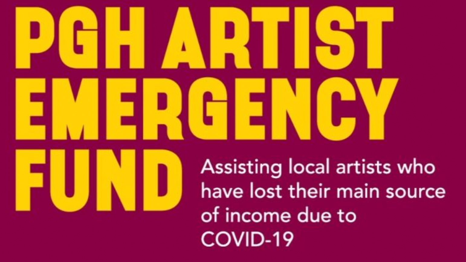 "Graphic with the text ""PGH Artist Emergency Fund"""