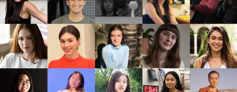 Grid of 16 headshots of School of Art seniors