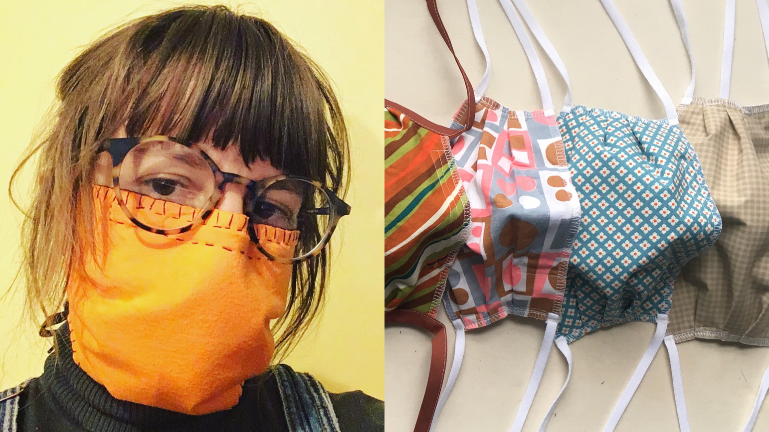 Image of Jenn Gooch wearing a hand-sewn maks and image of several masks lined up