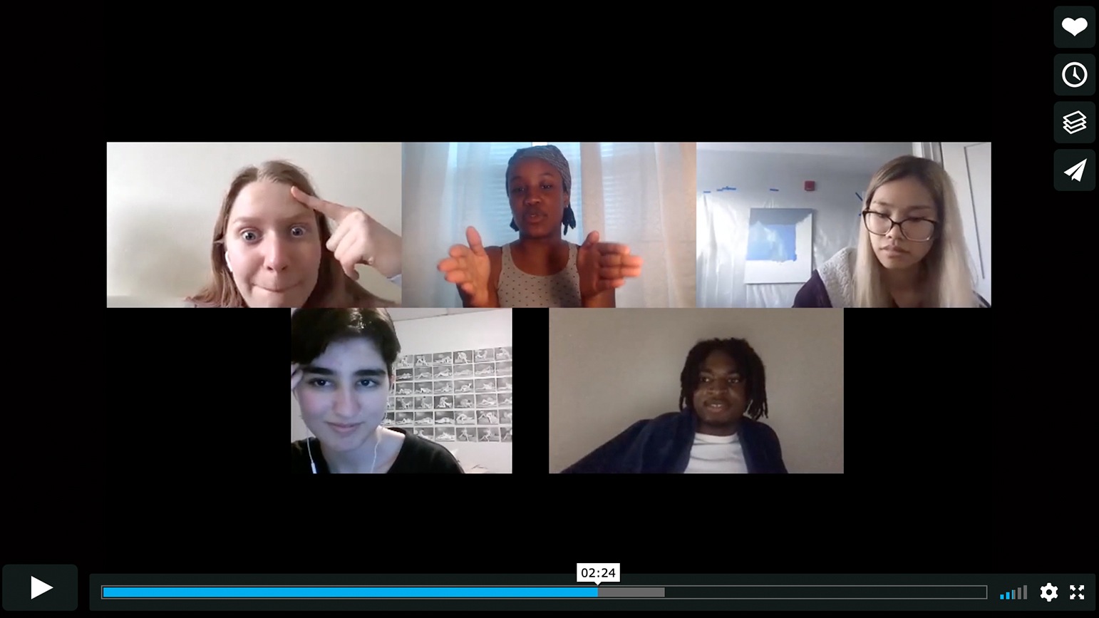 Still from a video showing five people talking on Zoom