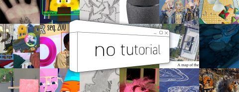 "Grid of 18 artworks with a graphic that reads ""No Tutorial"" superimposed"