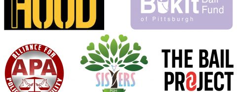 Logos for 1Hood Media, the Buiki Bail Fund, the Alliance for Police Accountability, SisTers PGH, and The Bail Project