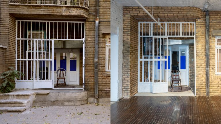 Two nearly identical images of an exterior of an apartment facade. The facade on the right is a replica created inside a museum of the facade on the left.