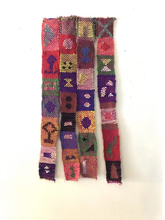 Multicolored weaving with four strands and various symbols