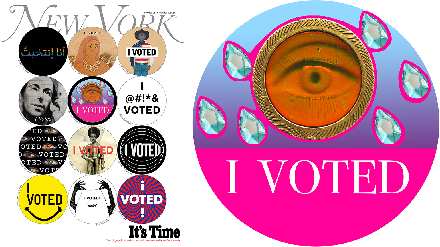 Cover of New York Magazine with 12 circular stickers, each with a different I Voted design; Devan Shimoyama's I Voted sticker with a eye surrounded by crystal teardrops