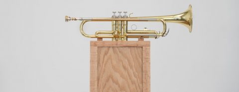 Trumpet mounted to a wood pedestal