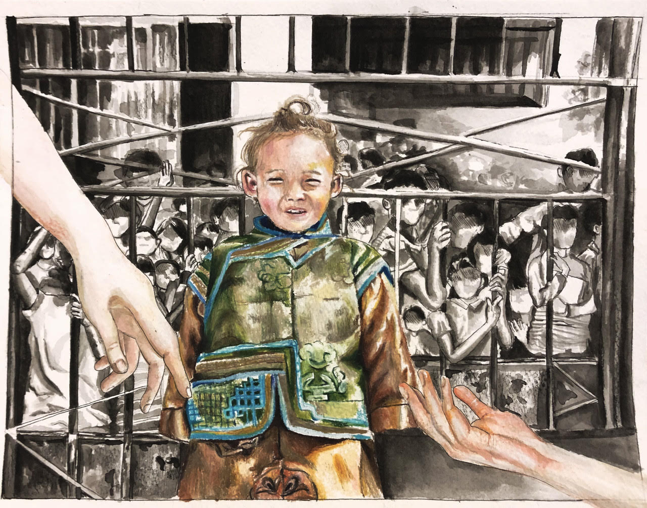 A child in traditional Mongolian dress stands in front of a crowd of faceless figures behind bars. In the foreground, two adult hands reach out to the child.