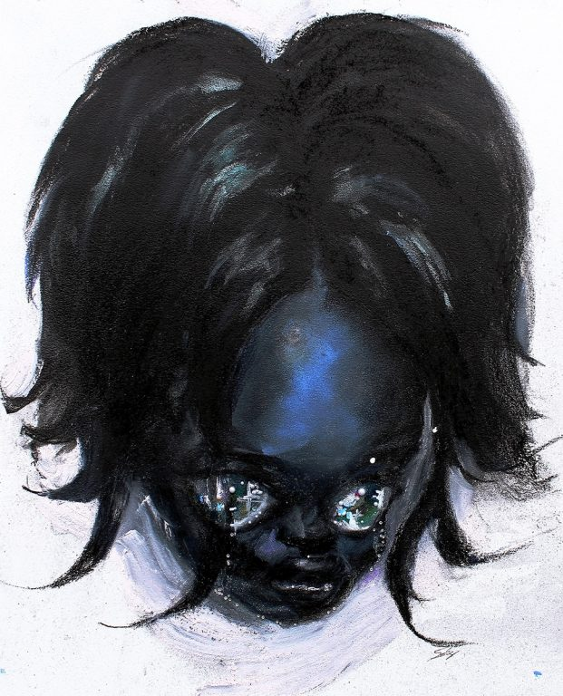 Drawing of a head with bob hairstyle and exaggerated eyes
