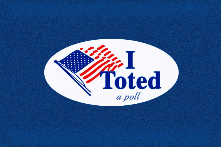 "Oval sticker with an American flag and the phrase ""I Toted a poll"""